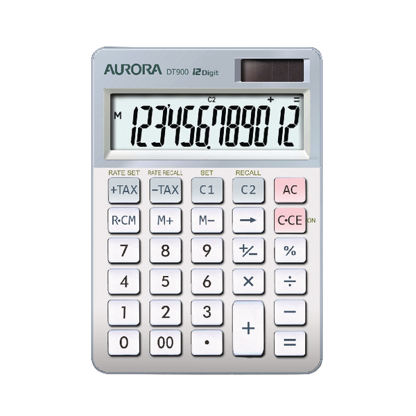 AURORA DT900 Desktop Calculator in White and Grey with currency conversion and tax feature DT900