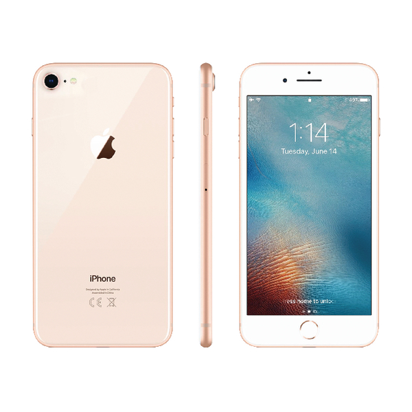 Apple iPhone 8 64GB Gold (Includes Earpods, USB Power Adapter, Lightning to USB Cable) MQ6J2B/A