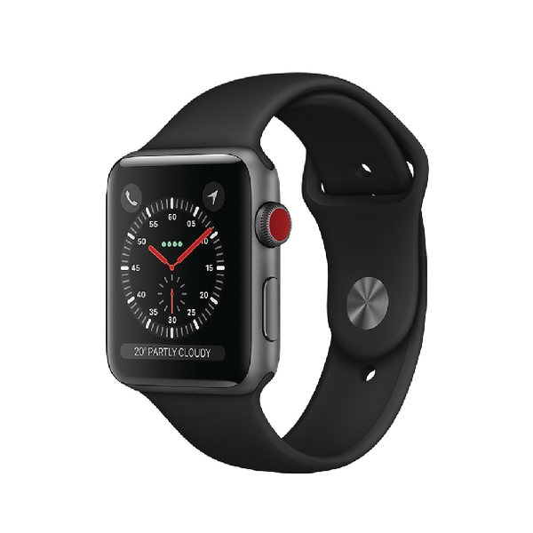 Apple Watch Series 3 Aluminium Case 42mm Black Sport Band GPS + 4G Space Grey MQKN2B/A