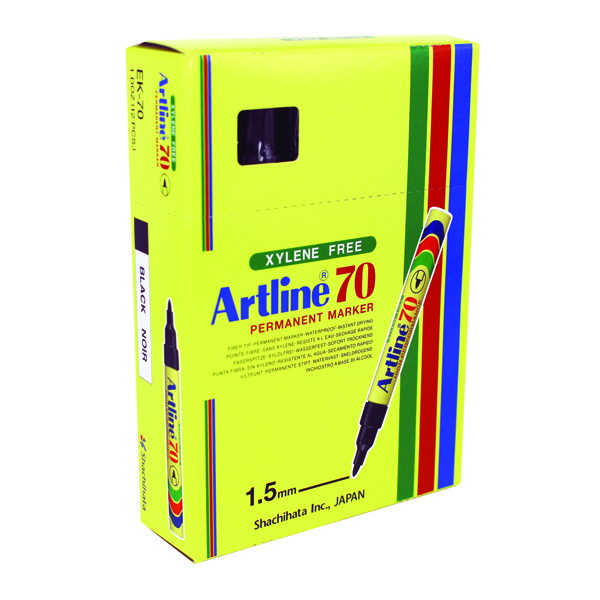 Artline 70 Permanent Black Bullet Tip Marker (Pack of 12) A701