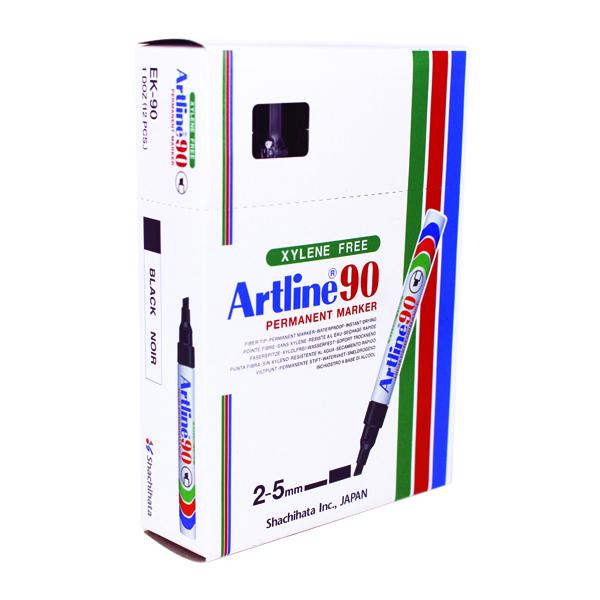 Artline 90 Chisel Tip Permanent Marker Black (Pack of 12) A901
