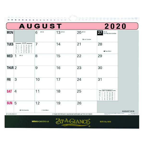 At-a-Glance Flipover Wall Calendar Month to View 2020 90M20