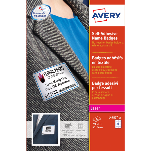 Avery Self Adhesive Name Badge White/Blue Border (Pack of 200) L4787-20