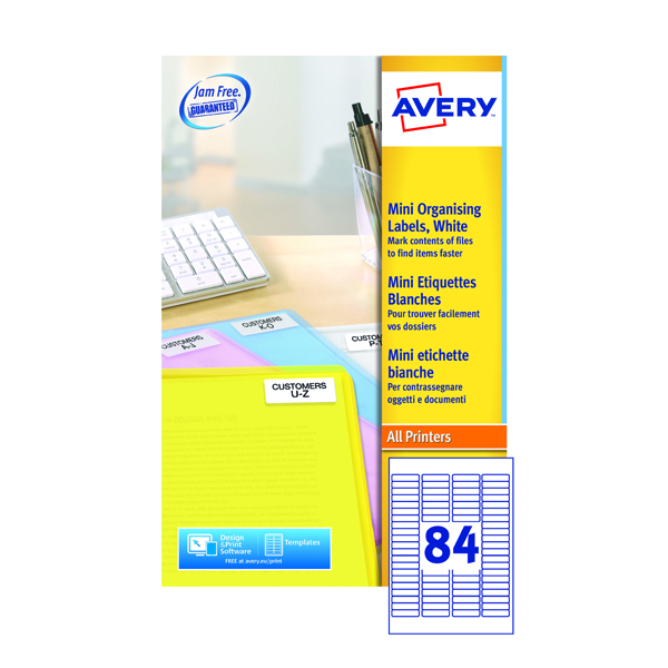 Avery White Mini Laser Labels 46mm x 11.1mm (Pack of 8400) L7656-100