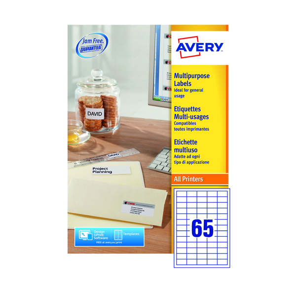 Avery Ultragrip Multi Labels 38.1x21.2mm 65 Per Sheet White (Pack of 6500) 3666