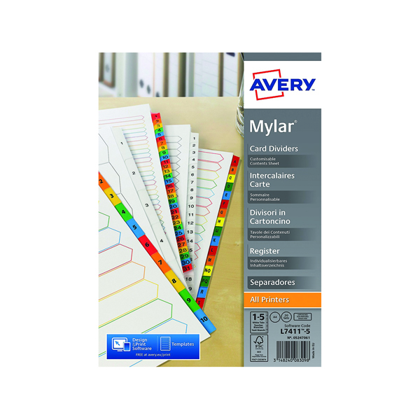 Avery Mylar Unpunched Divider 1-5 (Pack of 20) 05247061