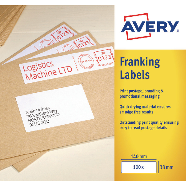 Avery 194x39mm White Franking Label FL06