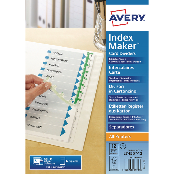 Avery White Punched Index Maker 12-Part Divider 01640061