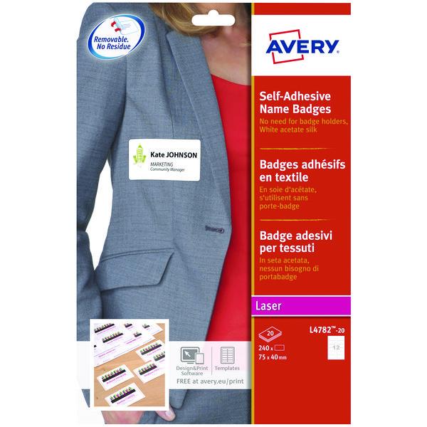 Avery Self Adhesive Name Badge 75x40mm 12 Per Sheet White (Pack of 240) L4782-20