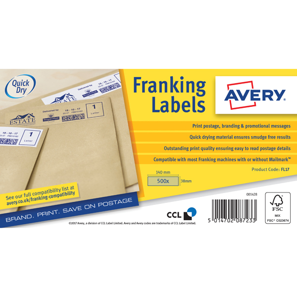 Avery Franking Label QuickDRY 140x38mm 1 Per Sheet Kraft Brown (Pack of 500) FL17