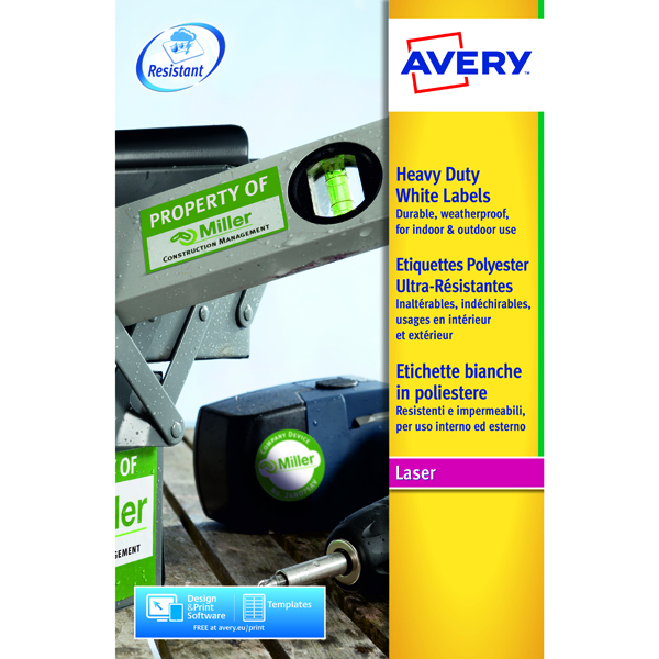 Avery Laser Label Heavy Duty 2 Per Sheet White (Pack of 40) L7068-20