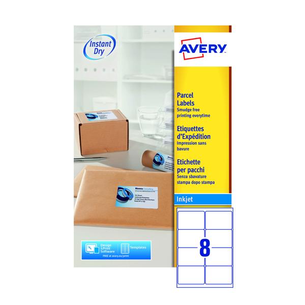 Avery Inkjet Parcel Labels 8 Per Sheet White (Pack of 200) J8165-25