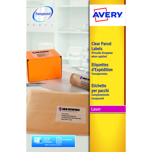 Avery Laser Parcel Label 1 Per Sheet Clear (Pack of 25) L7567-25