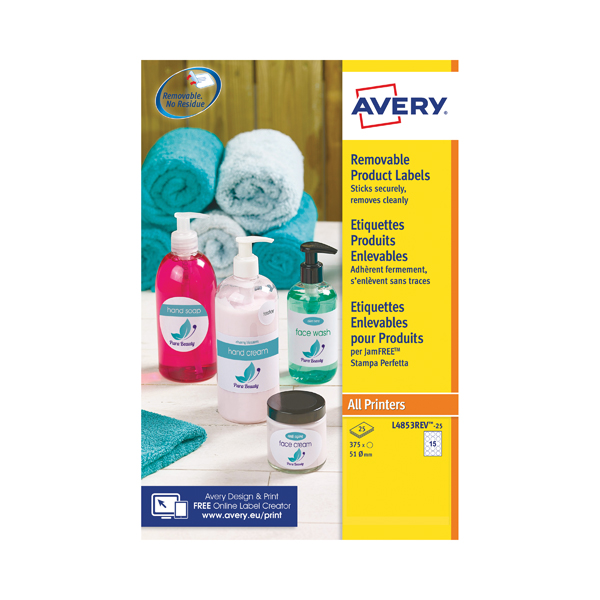 Avery Removable Labels Round 51mm 15 Per Sheet White (Pack of 375) L4853REV-25