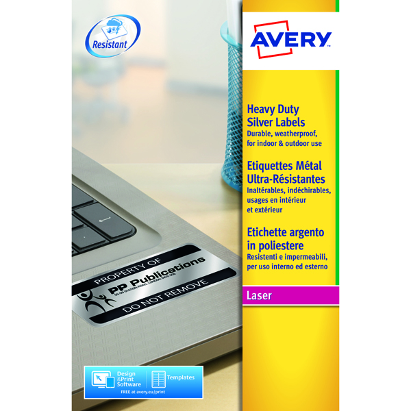 Avery Laser Label Heavy Duty Silver 48x20 Sheets (Pack of 960) L6009-20