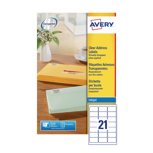 Image for Avery Clear I/Jet Labels 63.5x38.1 21/Sheet J8560-25