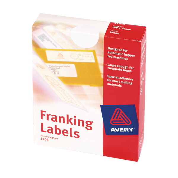 Avery Franking Label Double All Machines White 140mm x 38mm (Pack of 1000) FL01