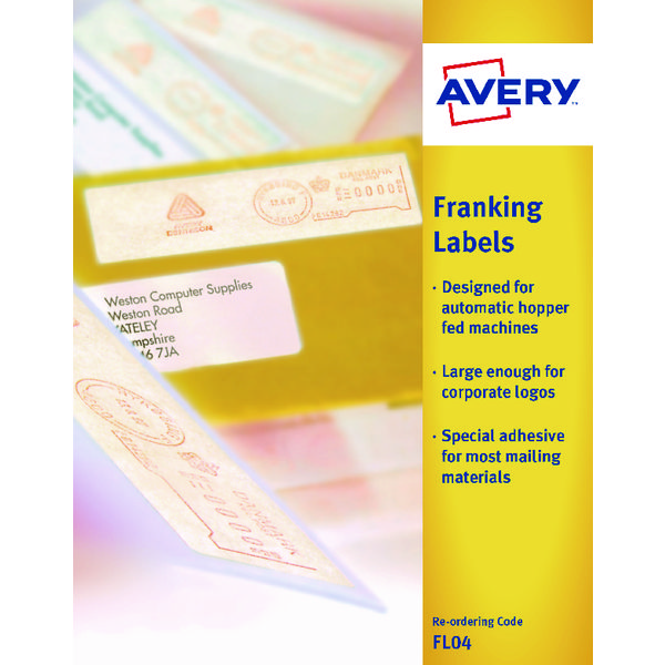 Avery Franking Label QuickDRY 140x38mm 1 Per Sheet White (Pack of 1000)  FL04