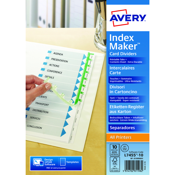 Avery 10-Part Index Maker Divider White A4 Extra-Wide  01999001