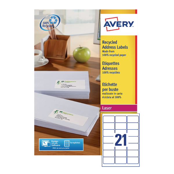 Avery Recycled Laser White Address Label 63.5 x 38.1mm 21 Per Sheet (Pack of 2100) LR7160-100