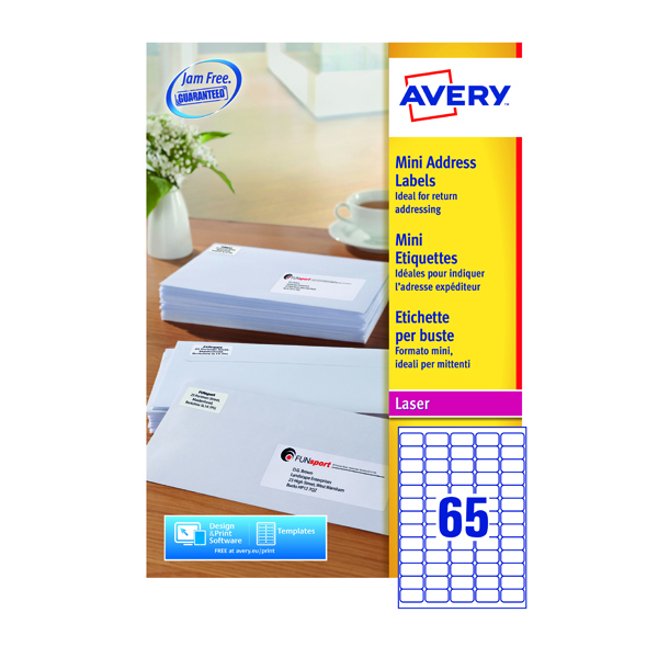Avery Mini Laser Lbl 38x21mm WH L7651-250 65 p/sheet PK16250