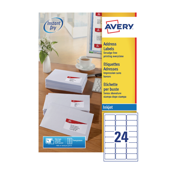 Avery Inkjet Address Labels QuickDRY 63.5x33.9mm 24 Per Sheet White (Pack of 2400) J8159-100