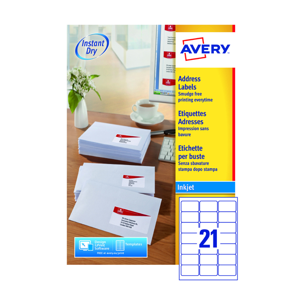 Avery White Inkjet Address Labels 63.5 x 38.1mm 21 Per Sheet (Pack of 2100) J8160-100