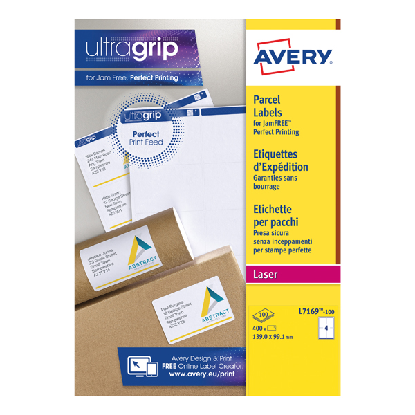 Avery White Laser Parcel Labels 139 x 99.1mm 4 Per Sheet (Pack of 400) L7169-100