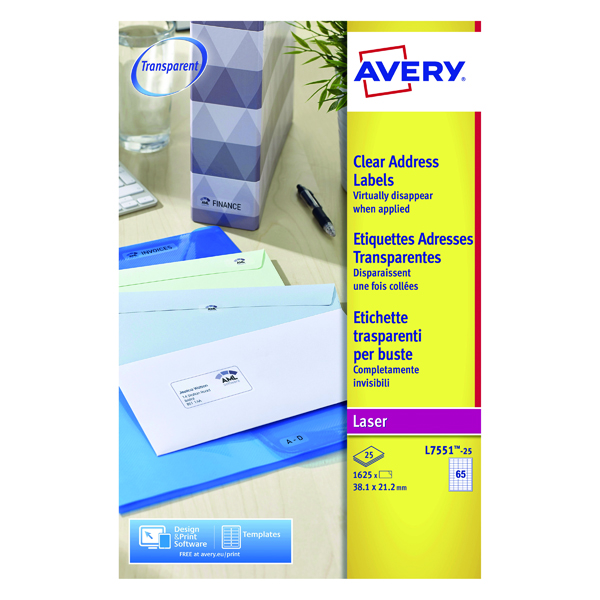 Avery Laser Labels 38x21mm 65 Per Sheet Clear (Pack of 1625) L7551-25