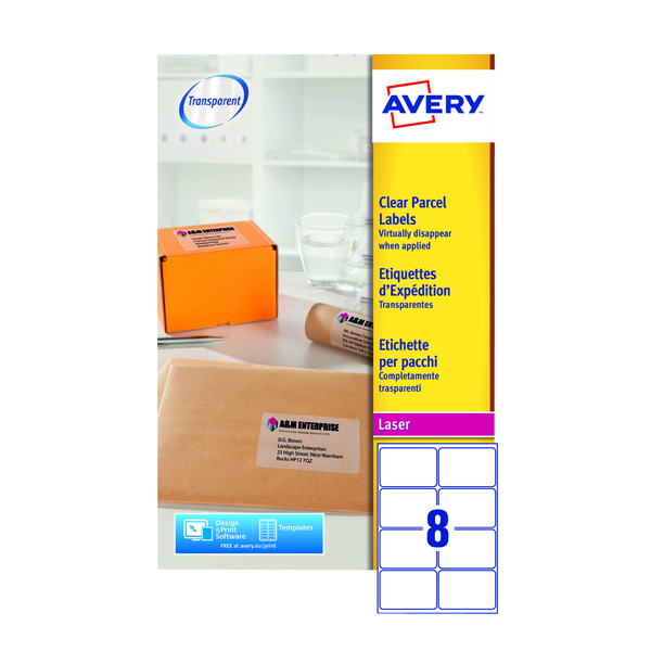 Avery Clear Laser Label 99.1 x 67.7mm 8 Per Sheet (Pack of 200) L7565-25