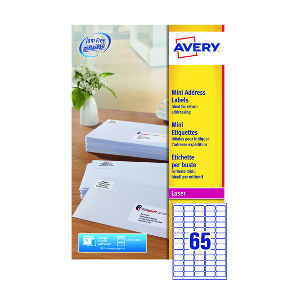 Avery White Mini Laser Labels 38.1 x 21.2mm (Pack of 1625) L7651-25