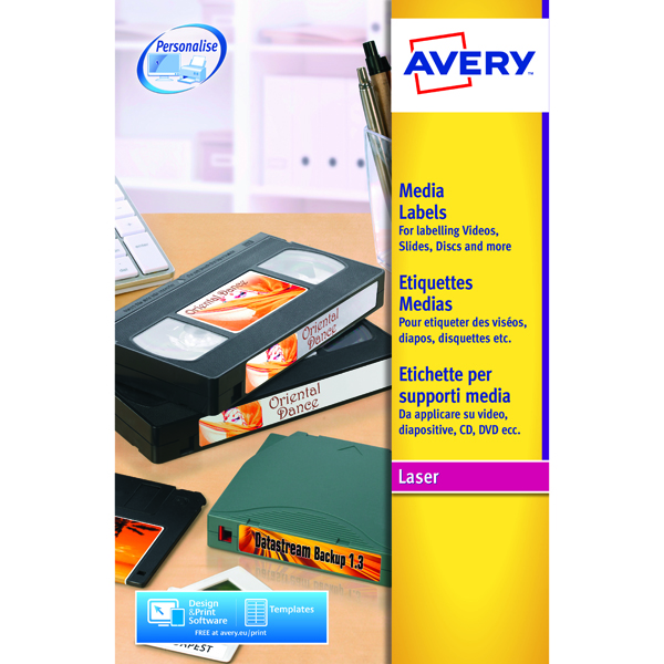 Avery Video Face Label 76x46mm 12 Per Sheet White(Pack of 300)L7671-25