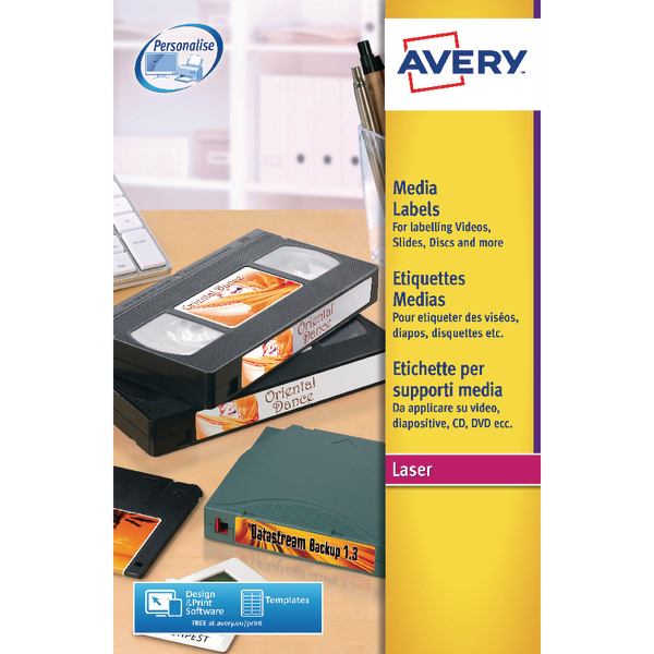 Avery Video Spine Label 145x17mm 16 Per Sheet Wht(Pack of 400)L7674-25