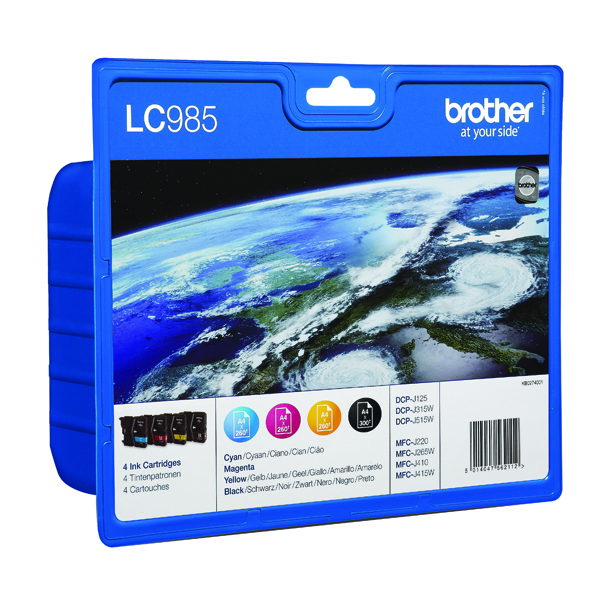 Brother LC-985 Cyan/Magenta/Yellow Inkjet Cartridges (Pack of 3) LC985RBWBP