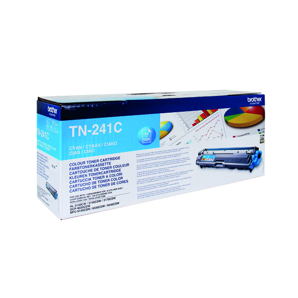 Brother TN-241C Cyan Laser Toner Cartridge (1400 page capacity) TN241C