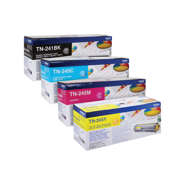 Brother TN245 Toner Cartridge Bundle Cyan/Magenta/Yellow/Black (Pack of 4)