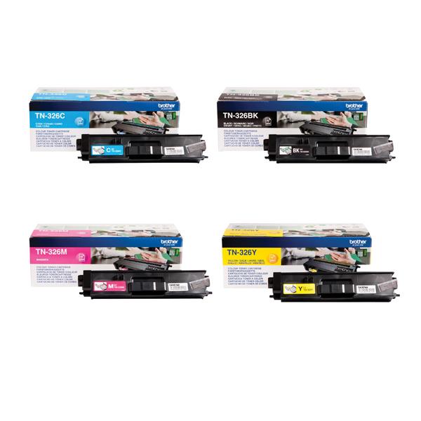 Brother TN326 Toner Cartridge Bundle Cyan/Magenta/Yellow/Black (Pack of 4)