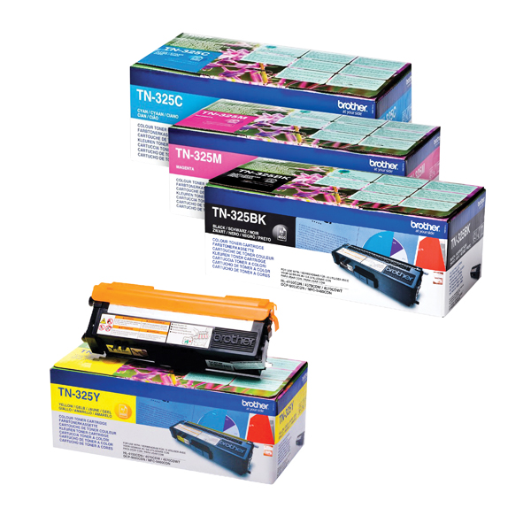 Brother TN325 Toner Cartridge Bundle Cyan/Magenta/Yellow/Black (Pack of 4)