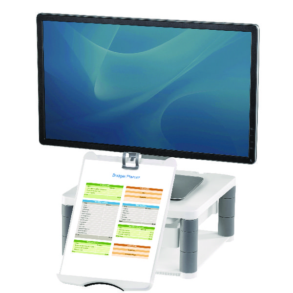Fellowes Premium Monitor Riser Plus Graphite 9169501 Claim a Fellowes Reward