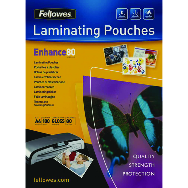 Image for Fellowes A4 Laminating Pouch 160 Micron (Pack of 100) 55306101