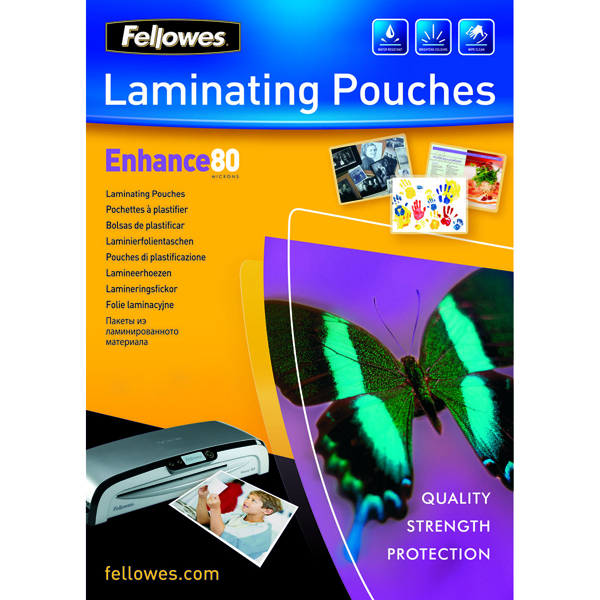 Image for Fellowes A4 Enhance Laminating Pouches 160 Micron (Pack of 25) 53962