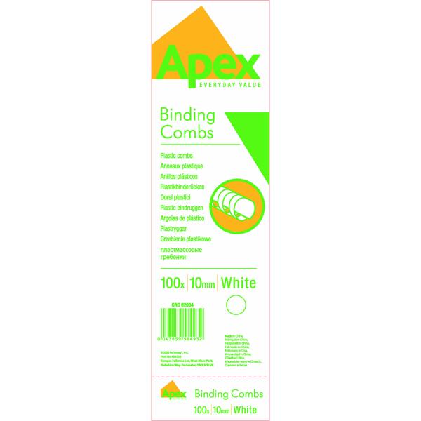 FELLOWES APEX WHITE PLASTIC COMB 10MM