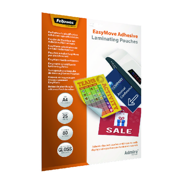 Fellowes Admire EasyMove Adhesive A4 Laminating Pouches 160 Micron (Pack of 25) 5601701