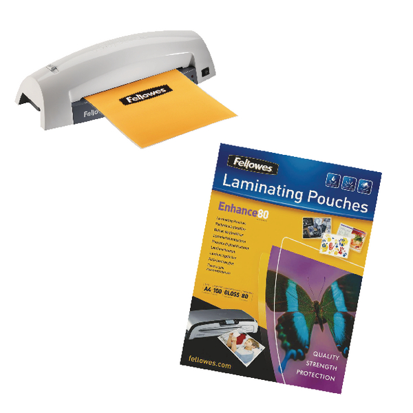 Fellowes Lunar Laminator with FOC 1 x 100 A4 Pouches