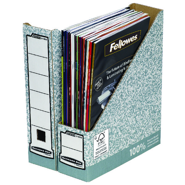 Fellowes Grey/White Bankers Box Premium Magazine File (Pack of 10) 186004