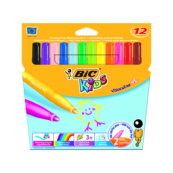 Bic Kids Visa XL Felt Tip Pens Assorted (Pack of 12) 829007