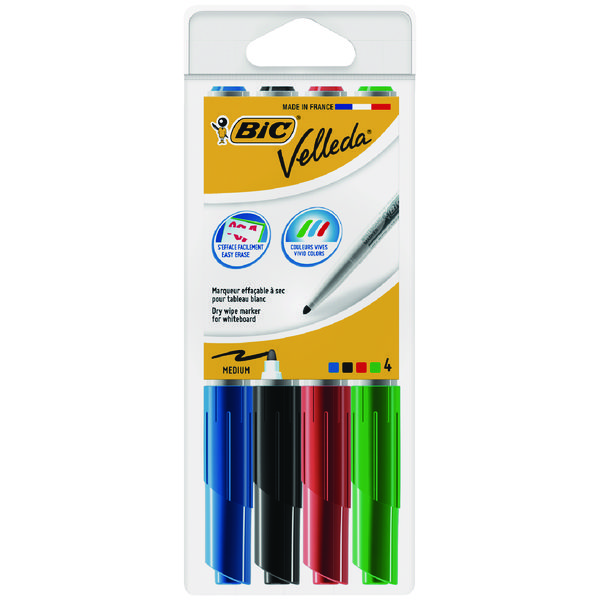 Bic Velleda 1741 Bullet Tip Assorted Whiteboard Marker (Pack of 4) 1199001744