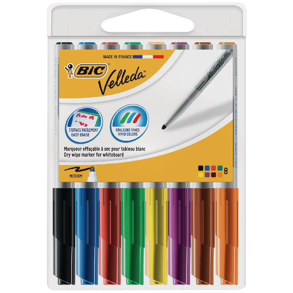 Bic Velleda 1741 Drywipe Marker Assorted (Pack of 8) 1199001748