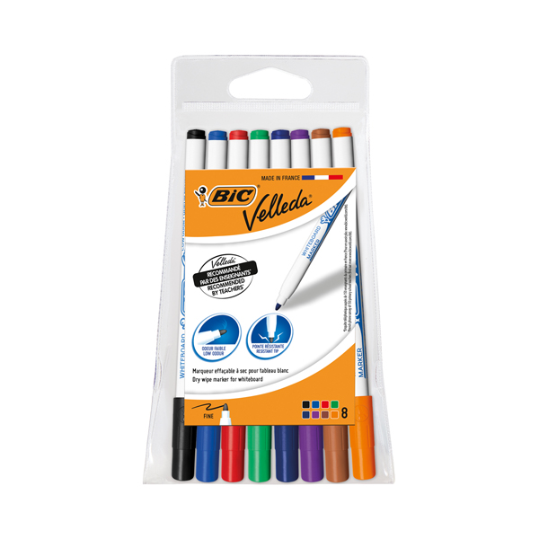 Bic Velleda 1721 Fine Tip Assorted Whiteboard Marker (Pack of 8) 1199005728