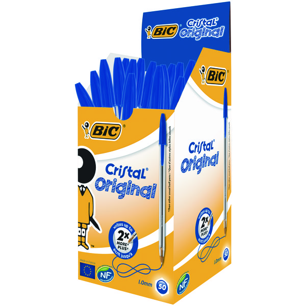 Bic Cristal Medium Ballpoint Blue Pen (Pack of 50) 837360